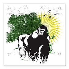 """gorilla sunset Square Car Magnet 3"""" x 3"""""""