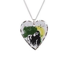 gorilla sunset Necklace Heart Charm