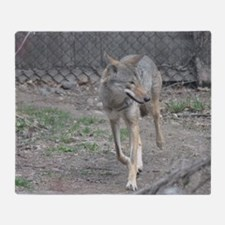 Red Wolf (5) Throw Blanket