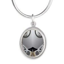 Hard drive Silver Oval Necklace