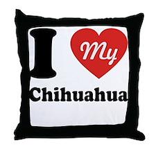 I Heart My Chihuahua Throw Pillow