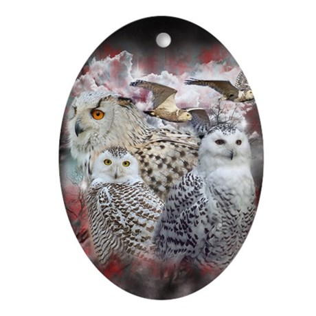 owls Oval Ornament