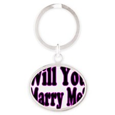 Will You Marry Me pink Oval Keychain