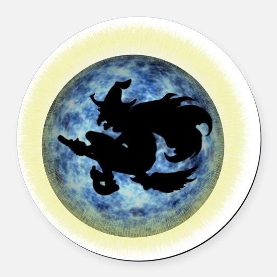 Witch In Moon Round Car Magnet