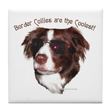 """Border Collie Cool"" Tile Coaster"