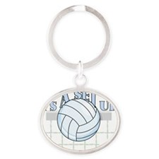 Set Up Volleyball Oval Keychain