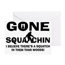 Gone Squatchin Bigfoot In Woods Greeting Card