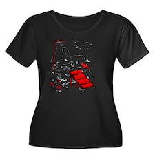 Vintage  Women's Plus Size Dark Scoop Neck T-Shirt