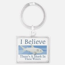 Shark In These Waters Landscape Keychain