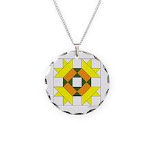 Quilt Design V-127 square w  Necklace