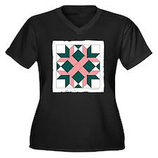 Quilt Design Women's Plus Size Dark V-Neck T-Shirt