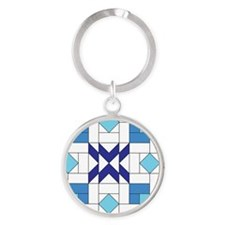 Quilt Design V-140 square Round Keychain