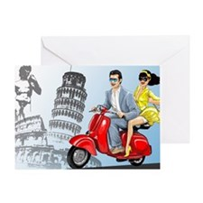 italian vespa romance Greeting Card