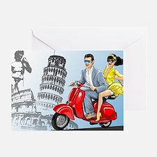 italian vespa romance Greeting Card