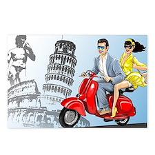 italian vespa romance Postcards (Package of 8)