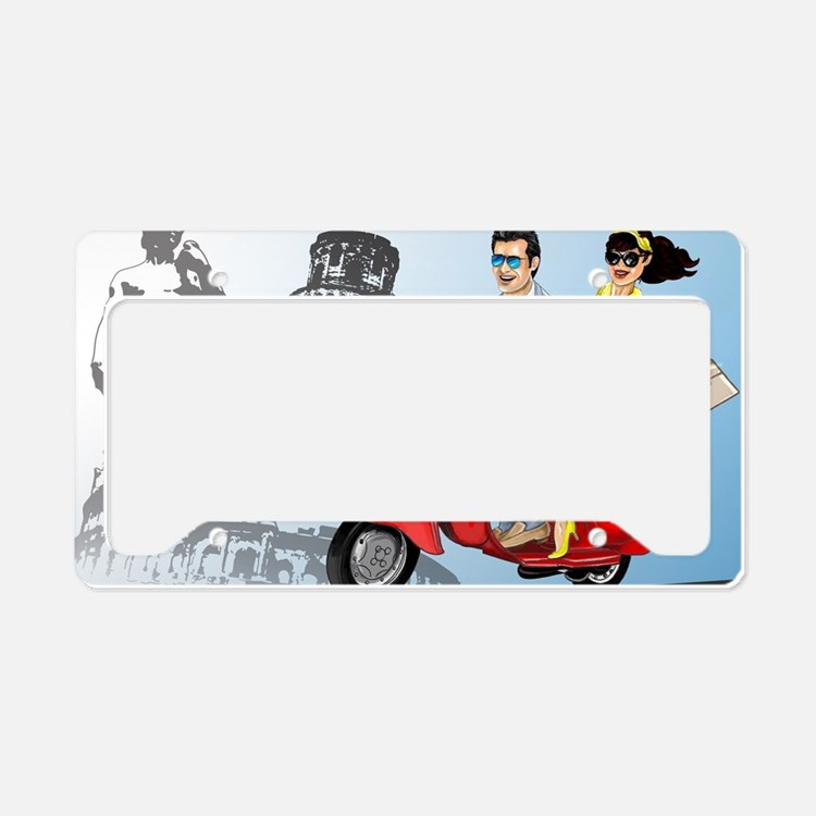 italian vespa romance License Plate Holder