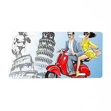italian vespa romance Aluminum License Plate