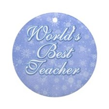 Snowflake World's Best Teacher Ornament (Round)
