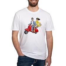 Vespa Girl With Italian Man Shirt