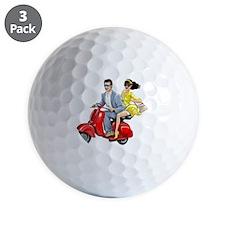 Vespa Girl With Italian Man Golf Ball