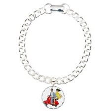 Vespa Girl With Italian  Charm Bracelet, One Charm