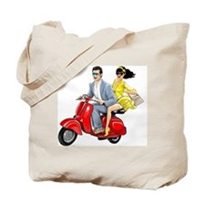 Vespa Girl With Italian Man Tote Bag