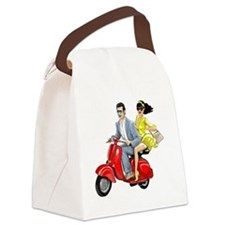 Vespa Girl With Italian Man Canvas Lunch Bag