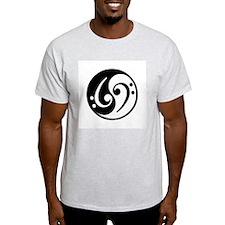 Yin Yang Bass Note Ash Grey T-Shirt