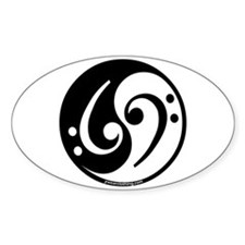 Yin Yang Bass Note Oval Decal