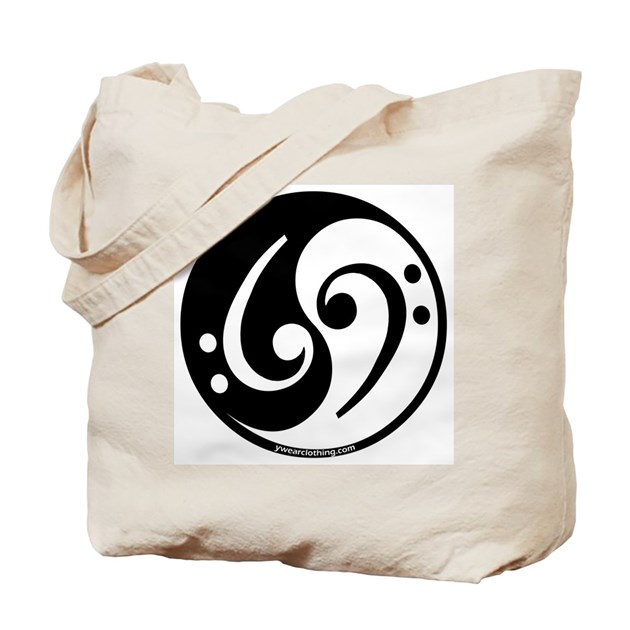 yin yang bass note tote bag by ywearclothing. Black Bedroom Furniture Sets. Home Design Ideas