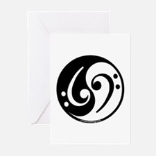 Yin Yang Bass Note Greeting Cards (Pk of 10)