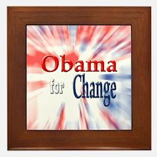Obama for Change Framed Tile