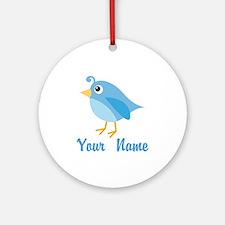 Personalized Blue Bird Ornament (Round)