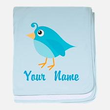 Personalized Blue Bird baby blanket