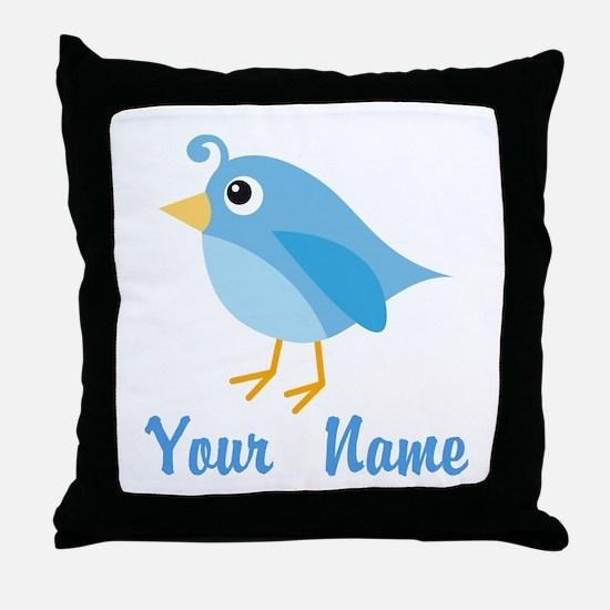 Personalized Blue Bird Throw Pillow