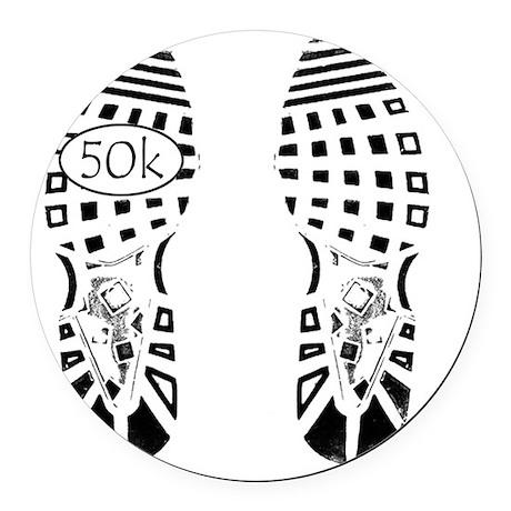 halfmarathon shoeprint shirt Round Car Magnet