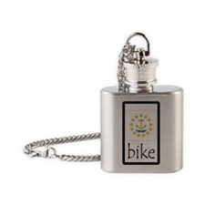 sticker rhode island bike Flask Necklace