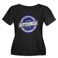 Buttermi Women's Plus Size Dark Scoop Neck T-Shirt
