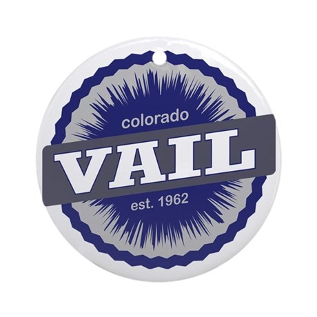 Vail Ski Resort Colorado - Blue Round Ornament