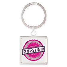 Keystone Ski Resort Colorado Pink Square Keychain