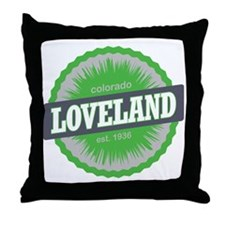 Loveland Ski Resort Colorado Lime Throw Pillow