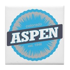 Aspen Ski Resort Colorado Sky Blue Tile Coaster