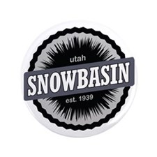 "Snowbasin Ski Resort Utah Black 3.5"" Button"