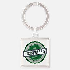 Deer Valley Ski Resort Utah Green Square Keychain