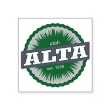 "Alta Ski Resort Utah Green Square Sticker 3"" x 3"""