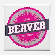 Beaver Mountain Ski Resort Utah Pink Tile Coaster