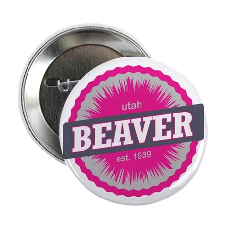 """Beaver Mountain Ski Resort Utah Pink 2.25"""" Button"""