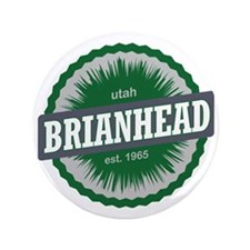 "Brian Head Ski Resort Utah Green 3.5"" Button"