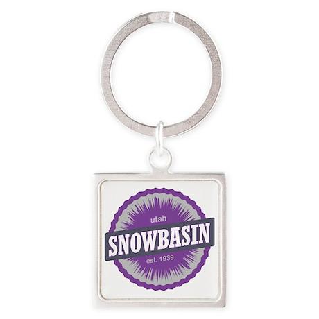 Snowbasin Ski Resort Utah Purple Square Keychain