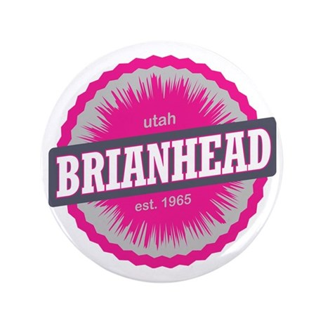 "Brian Head Ski Resort Utah Pink 3.5"" Button"